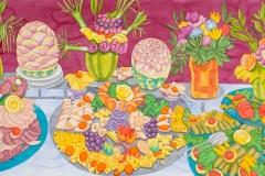 The Feast, watercolour, 110x260 cm, 2012